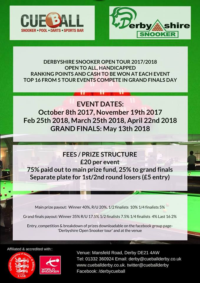 Derbyshire Open Snooker Tour 2017