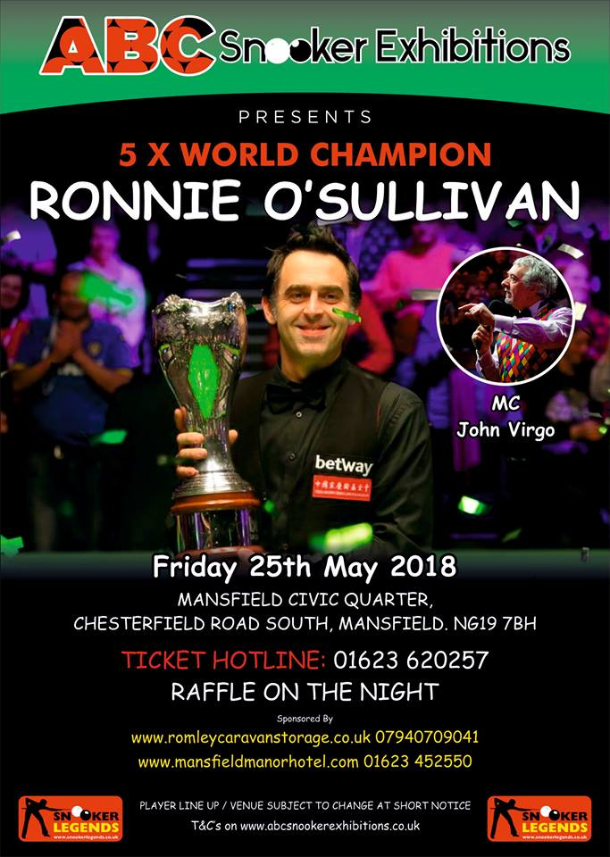 Ronnie O'Sullivan at The Towers 25 May 2018