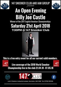 Billy Castle at 147 Snooker Club