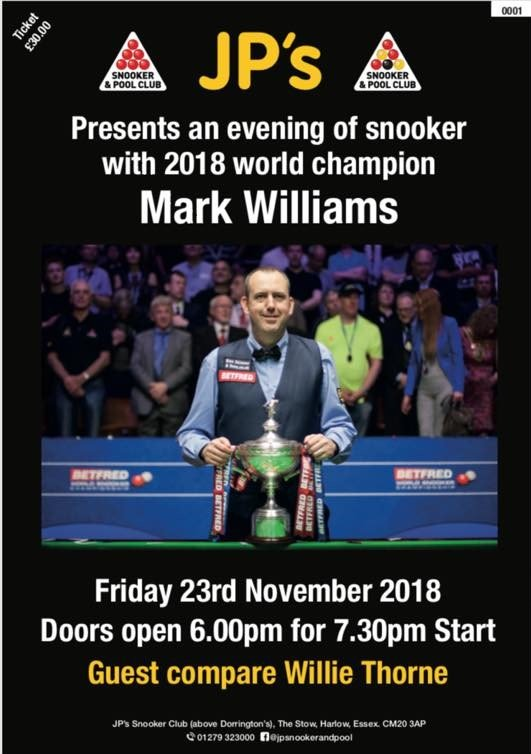 181123 Mark Williams at JP's Snooker & Pool