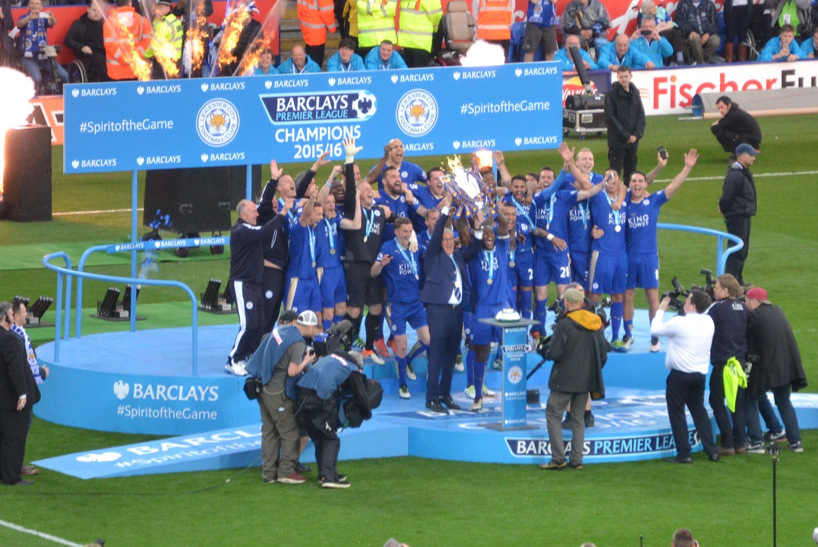 LCFC lift the Premier League Trophy