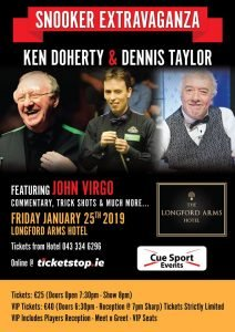 Dennis Taylor and Ken Doherty at the Longford Arms Hotel