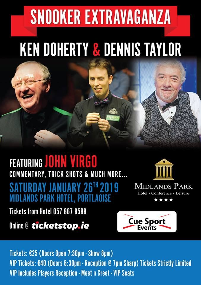Snooker Exhibition at the Midlands Park Hotel featuring Dennis Taylor and Ken Doherty