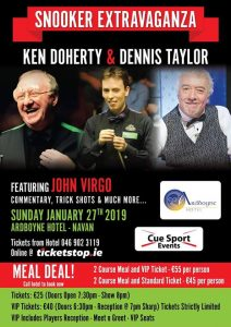 Snooker Exhibition at the Ardboyne Hotel featuring Dennis Taylor and Ken Doherty