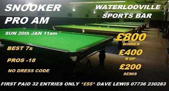 Snooker pro-am at Waterlooville Sports Bar