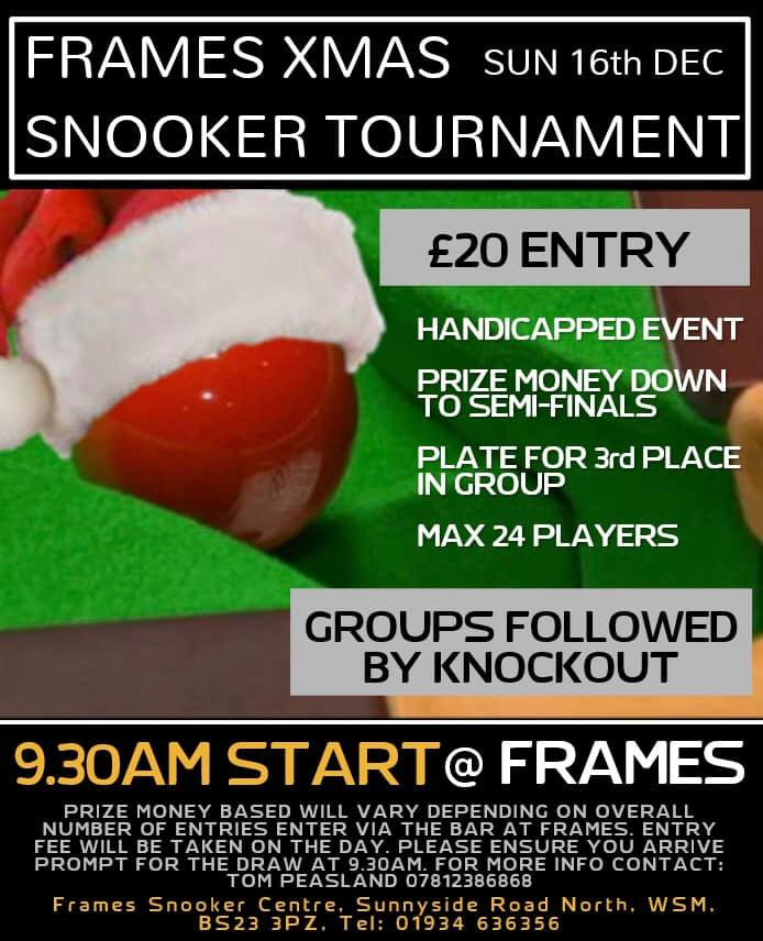 181216 Frames Xmas Snooker Tournament