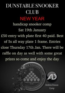 Handicap Snooker Competition at Dunstable Snooker Club