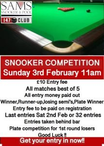 Snooker Competition at Sams Snooker & Pool