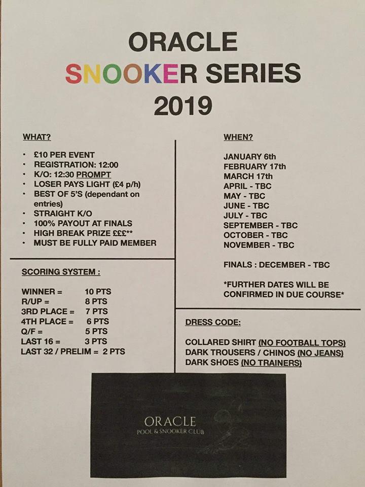 Oracle Snooker Series 2019