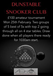 Poster for Amateur Snooker Tournament at Dunstable Snooker Club