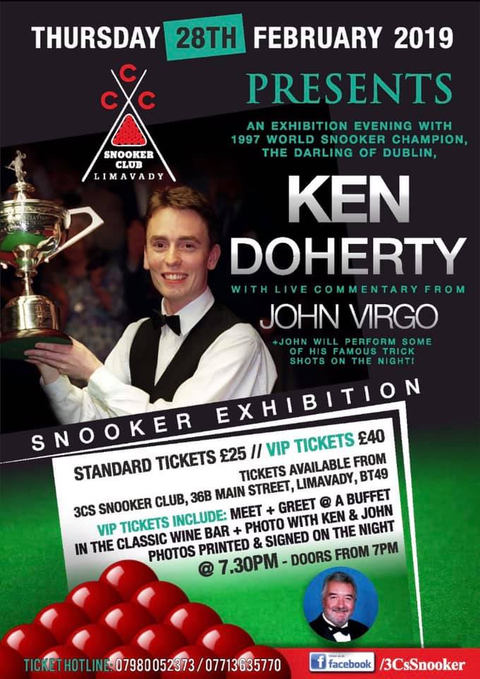 Poster for Ken Doherty at 3Cs Snooker Club, Limavady