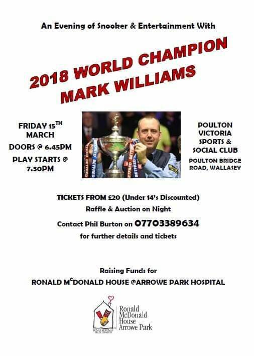 Poster for Mark Williams at Poulton Victoria Sports and Social Club