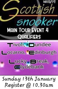 Scottish Snooker Main Tour Event 4 Qualifiers