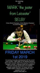Poster for Mark Selby at The Westend Working Men's Club, Leicester