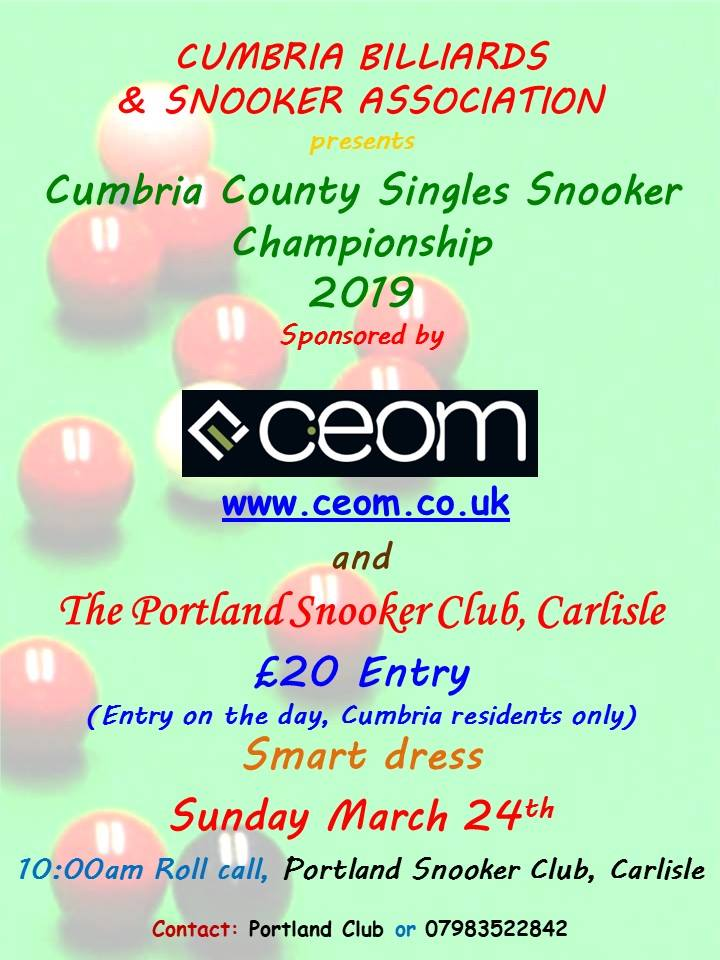 Poster for Cumbria County Singles Snooker Championship 2019