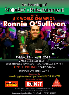 Poster for Ronnie O'Sullivan at Mansfield Civic Quarter