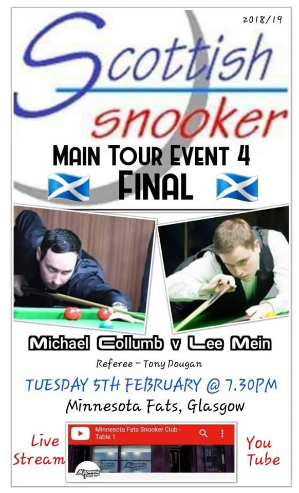Poster for Scottish Snooker Main Tour Event 4 Final