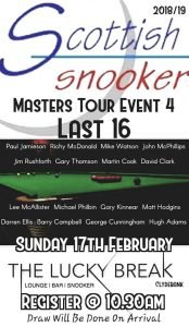 Poster for Scottish Snooker Masters Tour Event 4 Last 16