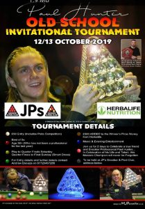 Poster for Paul Hunter Old School Invitational Snooker Tournament 2019