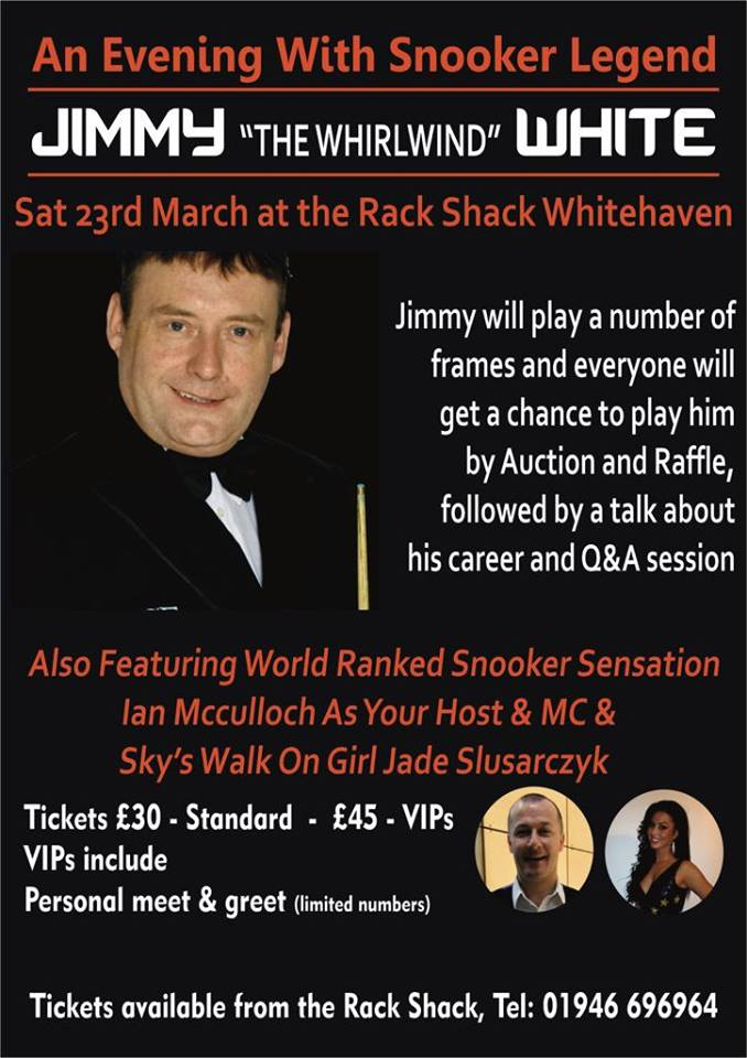 Poster for Jimmy White at the Rack Shack