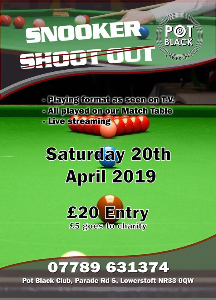 Poster for Snooker Shootout at Pot Black Lowestoft
