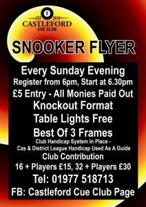 Poster for Castleford Cue Club Sunday Flyer