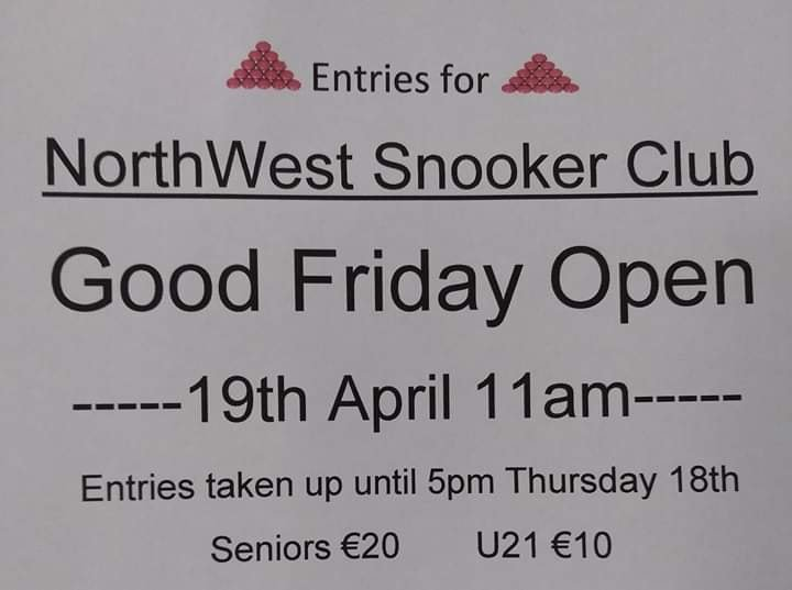 North West Snooker Club Good Friday Open