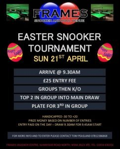 Easter Snooker Tournament at Frames
