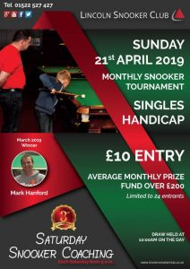 Monthly Snooker Handicap at Lincoln Snooker Club