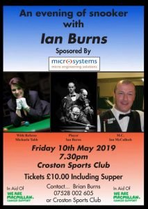 Poster for Ian Burns at Croston Sports Club