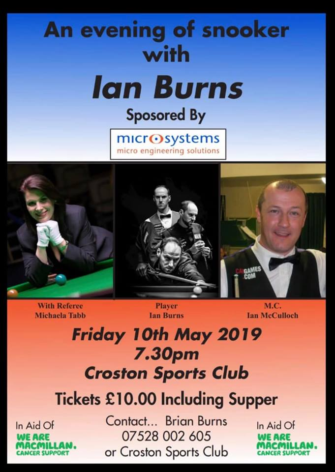 Poster for Ian Burns at Croston Sports Club