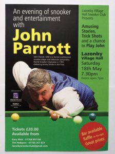 Poster for John Parrott at Lazonby Village Hall