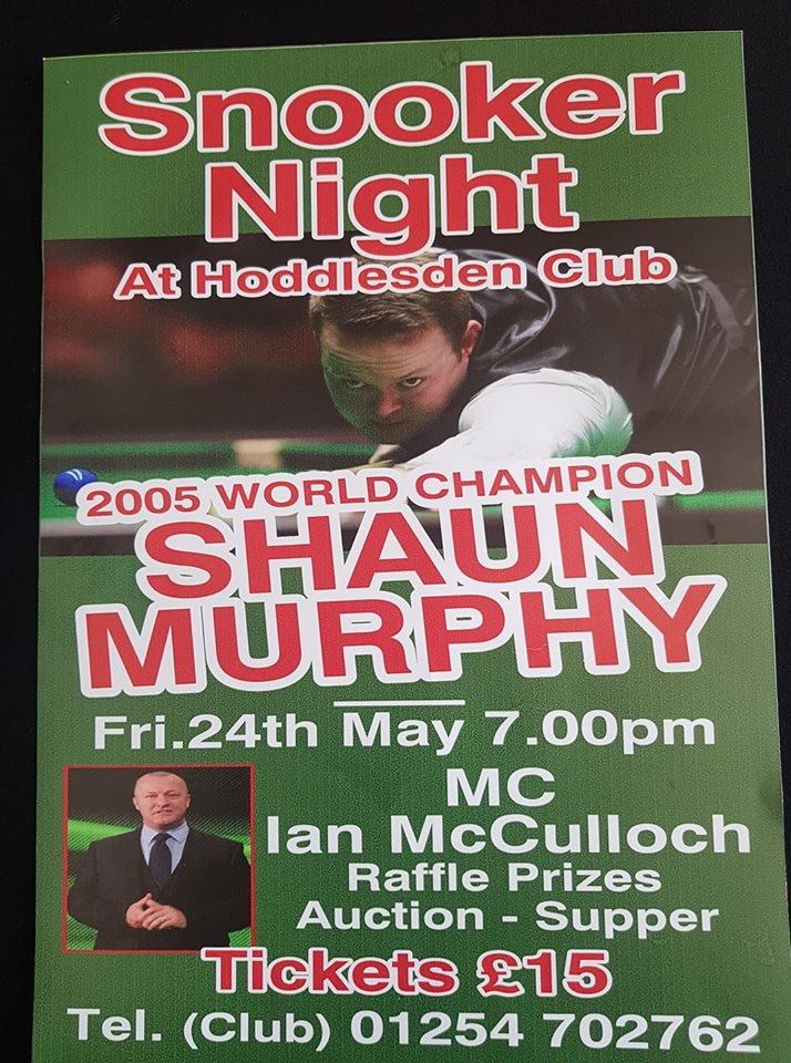 Poster for Shaun Murphy at Hoddlesden Club