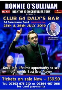Ronnie O'Sullivan at Club 64 Daly's Bar