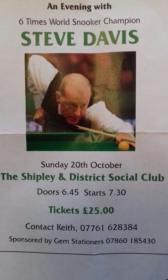 191020 Steve Davis at Shipley Social club