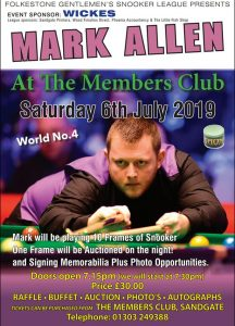 Mark Allen at Sandgate Members Club