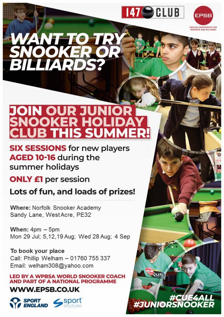 Summer Holiday Club at Norfolk Snooker Academy