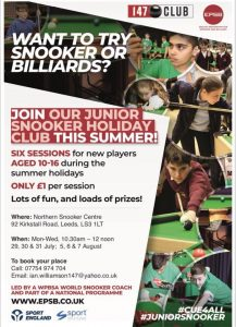 Summer Holiday Club at the Northern Snooker Centre