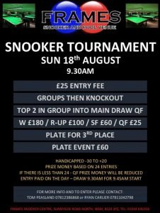 Handicap Snooker Tournament at Frames Snooker and Pool Venue