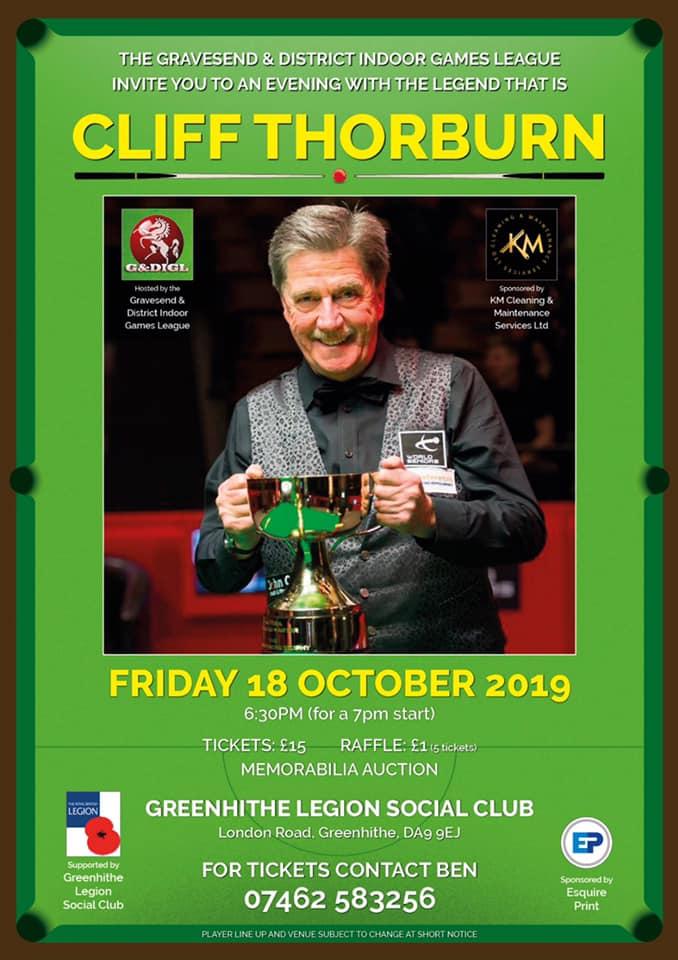 Cliff Thorburn at Greenhithe Legion Social Club