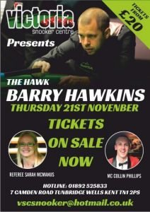 Barry Hawkins at Victoria Snooker Centre 21 November 2019