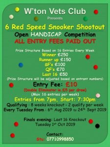 6 Red Speed Snooker Shootout at Workington Vets Club