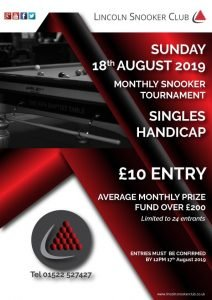 Lincoln Snooker Club - Monthly Handicap August 2019