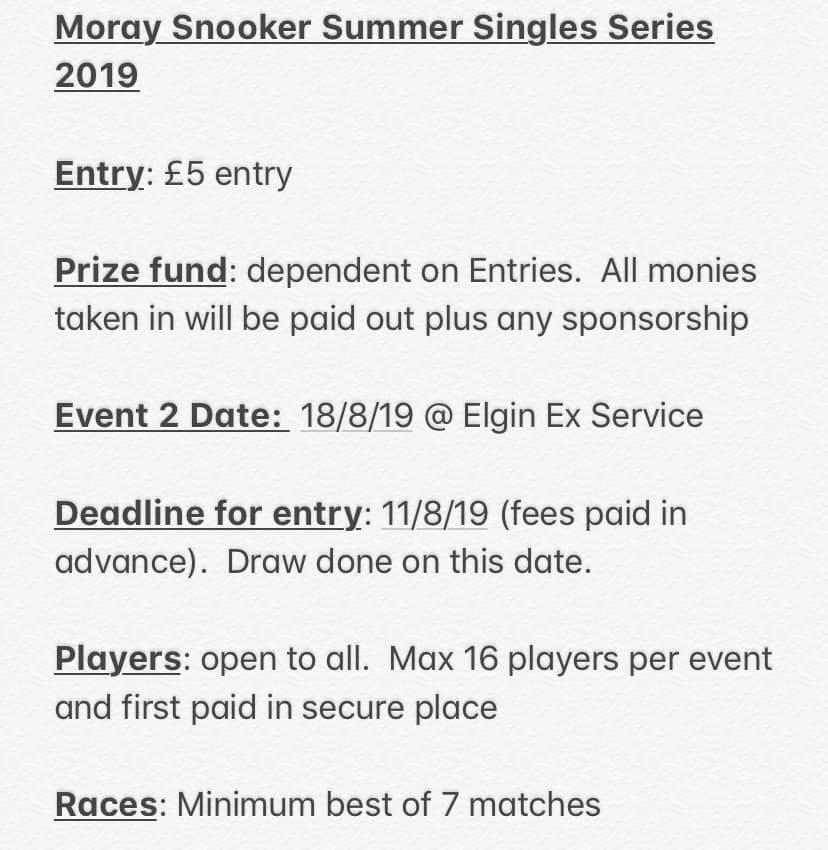 Moray Snooker Summer Singles Series 2019 Event 2 Info