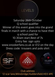 SnookerFans Q School Qualifier at Levels