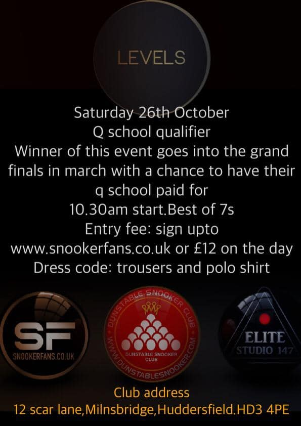SnookerFans Q School Qualifier at Levels