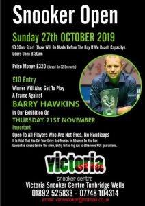Snooker Open at Victoria Snooker Centre 27 October 2019
