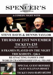 Steve Davis and Dennis Taylor at Spencers Sports Bar