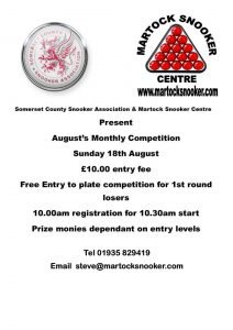 Martock Snooker Centre Monthly Competition August 2019