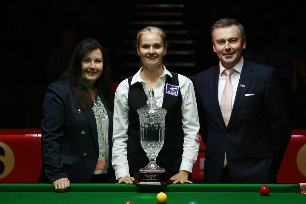 Reanne Evans with Mandy Fisher and Jason Ferguson